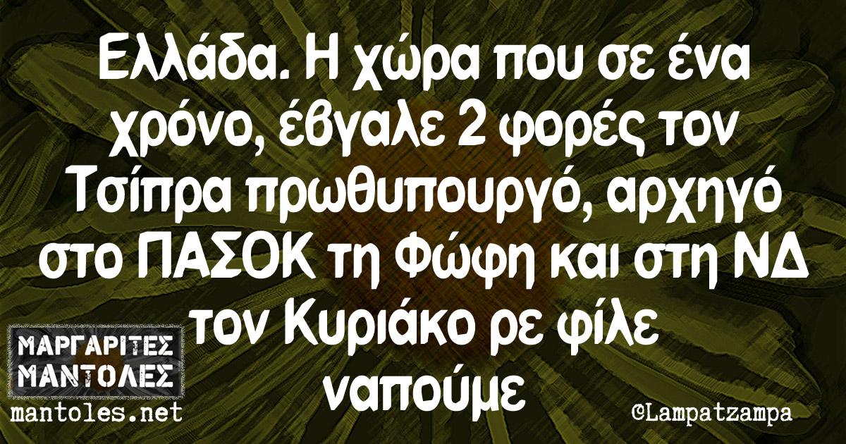 Ελλάδα. Η χώρα που σε ένα χρόνο, έβγαλε 2 φορές τον Τσίπρα πρωθυπουργό, αρχηγό στο ΠΑΣΟΚ τη Φώφη και στη ΝΔ τον Κυριάκο ρε φίλε ναπούμε