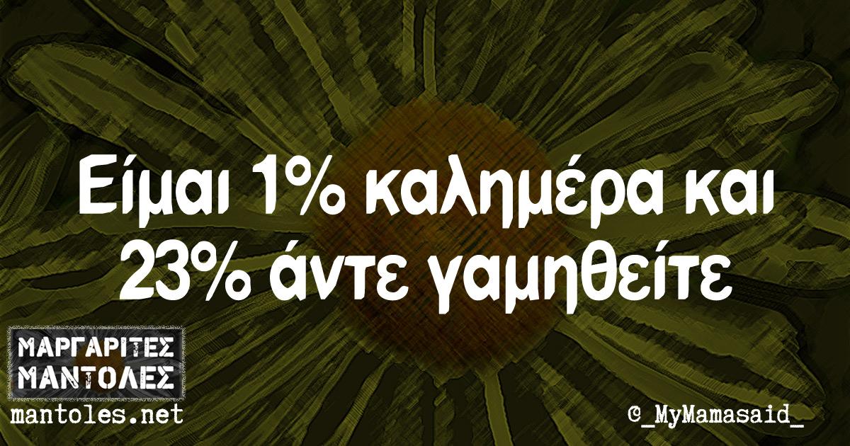 Είμαι 1% νεύρα και 23% άντε γαμηθείτε