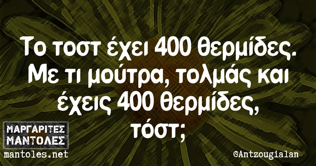 Το τοστ έχει 400 θερμίδες. Με τι μούτρα, τολμάς και έχεις 400 θερμίδες, τοστ;
