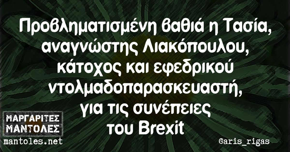 Προβληματισμένη βαθιά η Τασία, αναγνώστης Λιακόπουλου, κάτοχος και εφεδρικού ντολμαδοπαρασκευαστή, για τις συνέπειες του Brexit