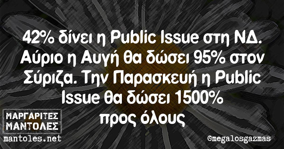 42% δίνει η Public Issue στη ΝΔ. Αύριο η Αυγή θα δώσει 95% στον Σύριζα. Την Παρασκευή η Public Issue θα δώσει 1500% προς όλους
