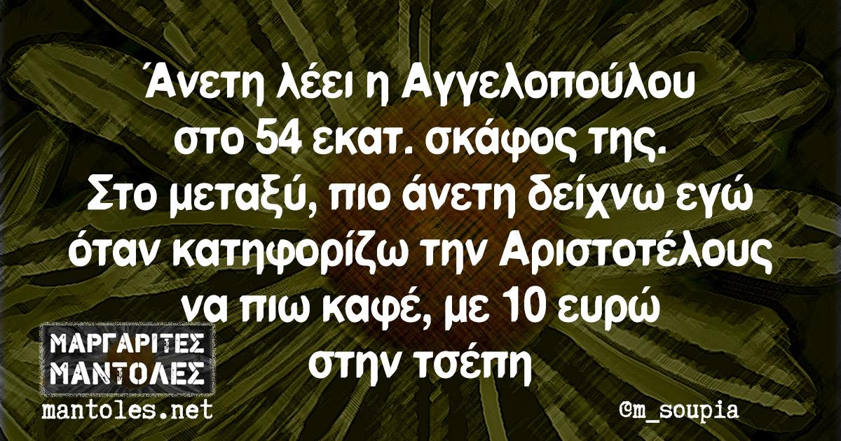 Άνετη λέει η Αγγελοπούλου στο 54 εκατ. σκάφος της. Στο μεταξύ, πιο άνετη δείχνω εγώ όταν κατηφορίζω την Αριστοτέλους να πιω καφέ, με 10 ευρώ στην τσέπη