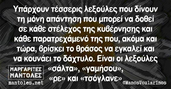Υπάρχουν τέσσερις λεξούλες που δίνουν τη μόνη απάντηση που μπορεί να δοθεί σε κάθε στέλεχος της κυβέρνησης και κάθε παρατρεχάμενό της που, ακόμη και τώρα, βρίσκει το θράσος να εγκαλεί και να κουνάει το δάχτυλο. Είναι οι λεξούλες «σάλτα», «γαμήσου», «ρε» και «τσόγλανε»