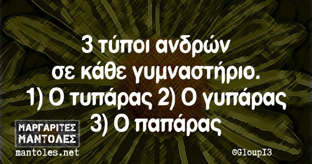 3 τύποι ανδρών σε κάθε γυμναστήριο. 1) Ο τυπάρας 2) Ο γυπάρας 3) Ο παπάρας